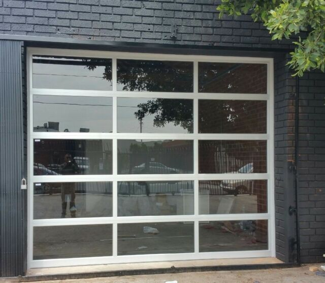 Full View 8 X 8 Anodized Aluminum Tempered Clear Glass Garage Door Ebay In 2020 Glass Garage Door Clear Garage Doors Garage Door Styles