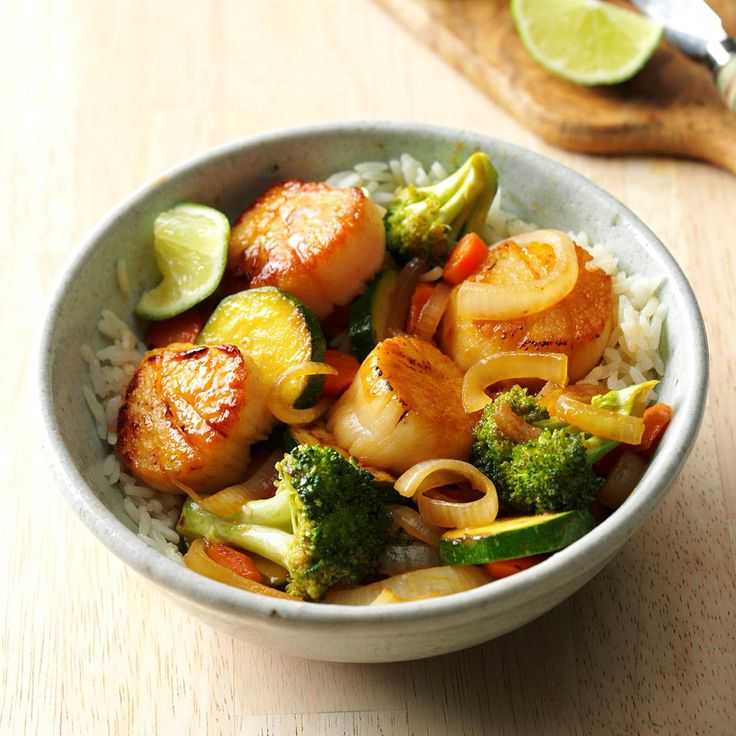Thai Scallop Saute Recipe -Just open a bottle of Thai peanut sauce to give this seafood stir-fry some serious authenticity. —Taste of Home Test Kitchen