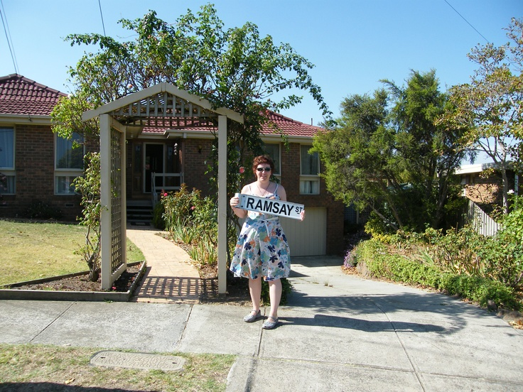 This is me in March 08 holding the Ramsey Street sign outside the Kennedy's house on the Neighbours Tour!