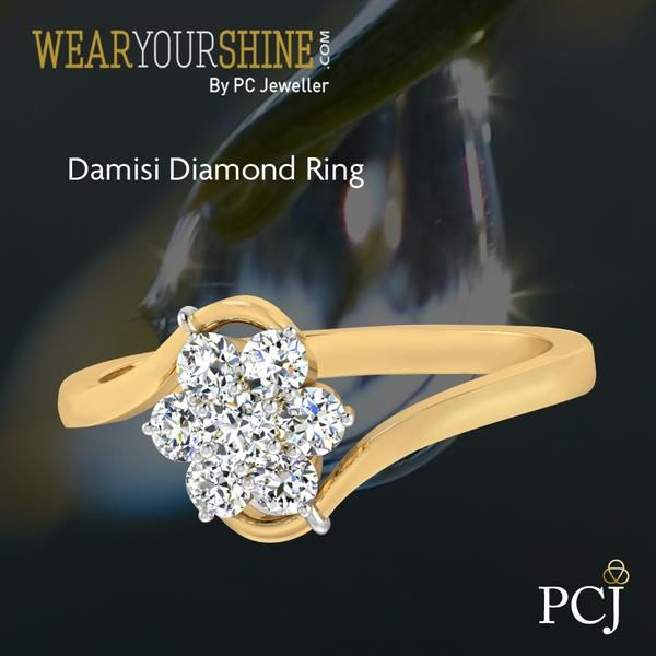 """Feel enchanted with the pure beauty of """"The Damisi Diamond Ring""""  #WearYourShine #Love #PCJeweller #Fashion #Jewellery #Diamonds #Rings #Jewelry #Gold #Wedding #Engagement"""