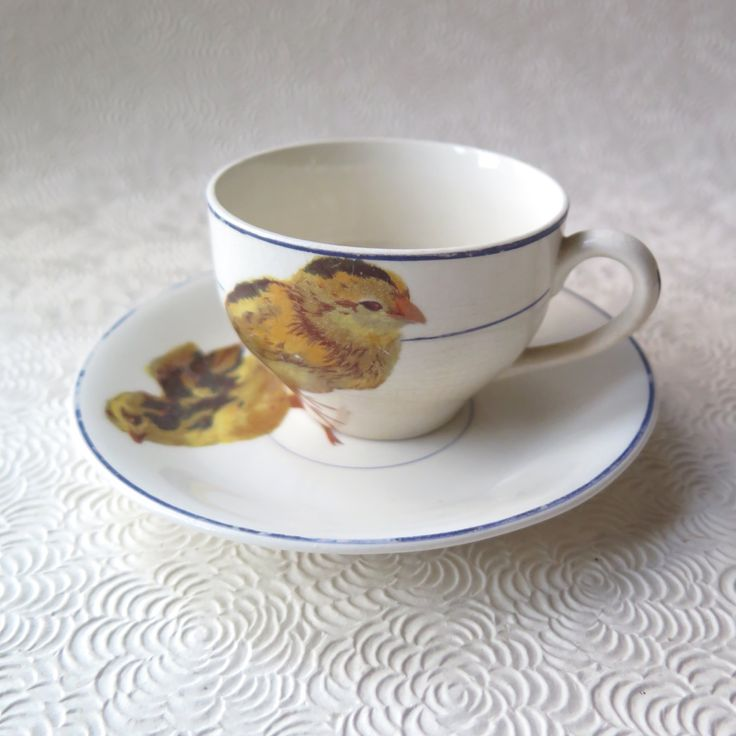 Baby Tea Cup Saucer Verona China Usa Set En Little Easter Farm Chic Kitchen Decor Ceramic By Stonebridgeworks On Etsy