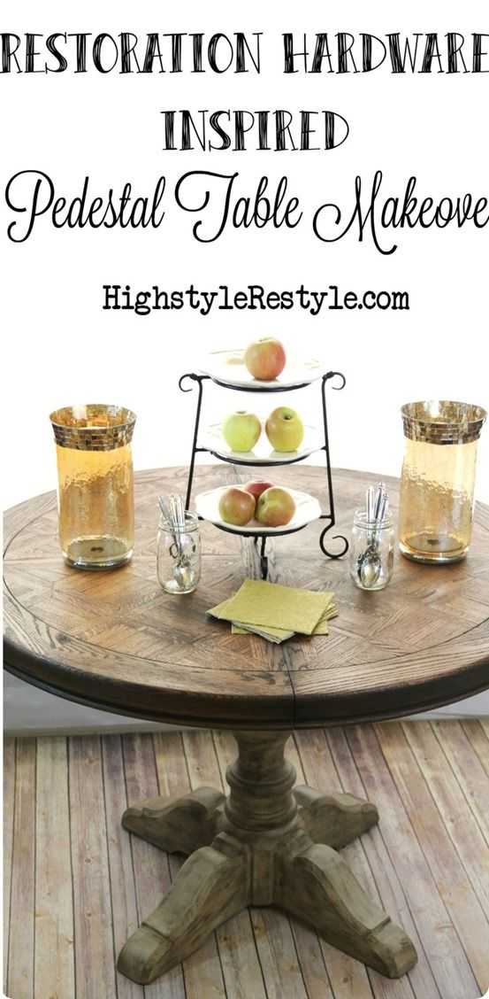 Restoration Hardware Knock Off Pedestal Table ~ It's easy to get this weathered look by layering paint with glaze.
