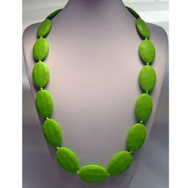Vibrant Green Large Seed Food Grade Silicon Teething Necklace