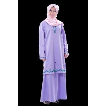 Rasa Sayang Hadeeba Embroidered Baju Kurung - Purple A fesyen baju kurung with delicate flora and beads embroidery detailing  Fabric: Chiffon Colors: Sea Blue, Beige, Peach, Lite Blue, Violet & Red Blouse Measurements: S  2 -  Length 37,  Shoulder 15.5, Bust 22,  Waist 2... #bajukurung #bajukurungmoden