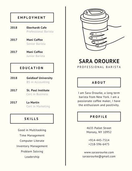 121 best CV images on Pinterest Charts, Design web and Editorial - barista resume sample