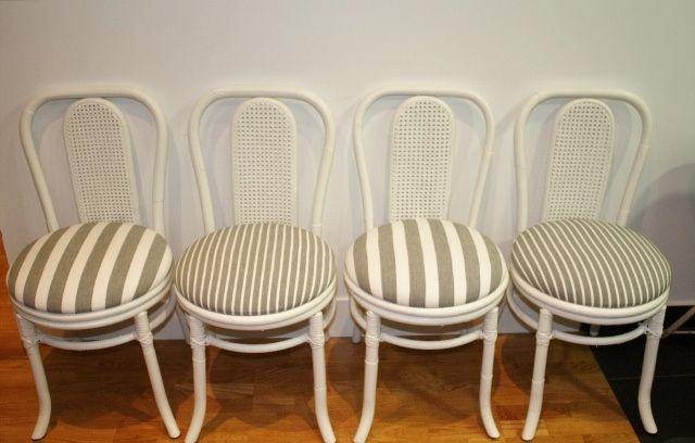 sillas de bambú (finales s.XIX) restauradas y lacadas en blanco.