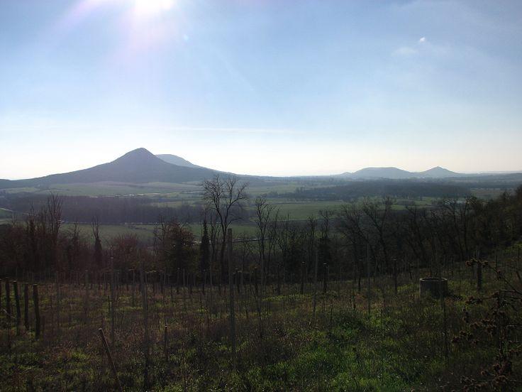 Kilátás a Csobánc hegy oldalából. Gyönyörködhetsz, amig kiliheged magad fölfelé.