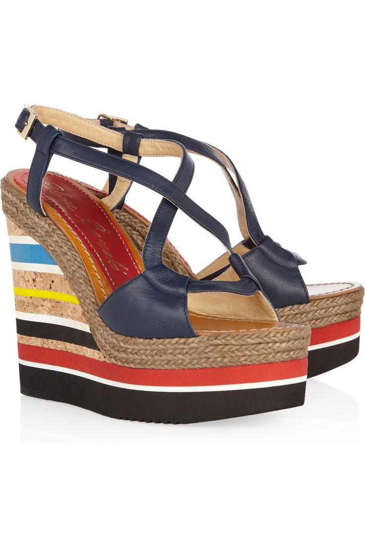 Paloma Barceló Formentera Leather Wedge Sandals in Multicolor .