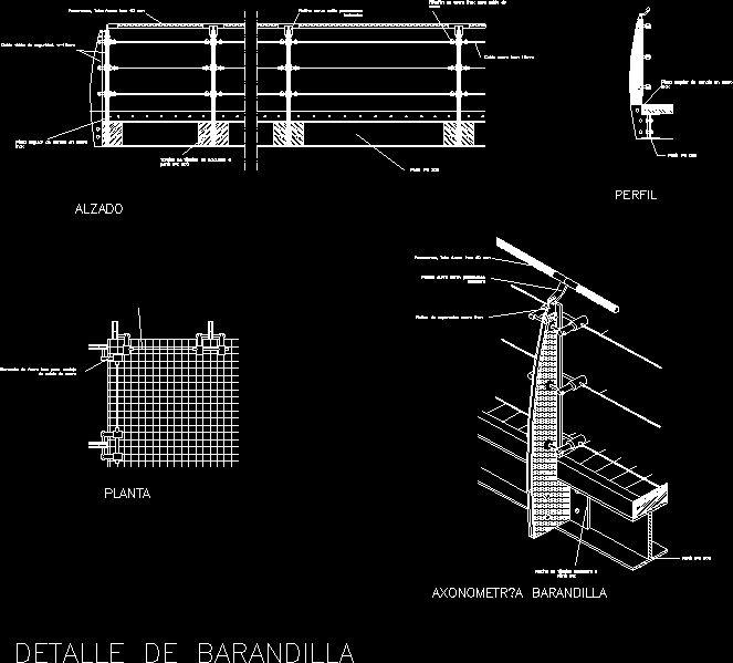 Railing detail design handrail to balcony or just a for Detalles autocad