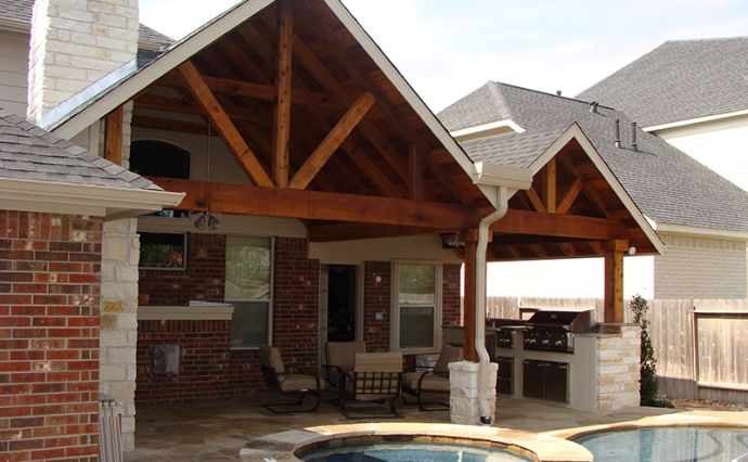 Gabled patio gable patio cover 1 outdoors pinterest for Gable patio designs