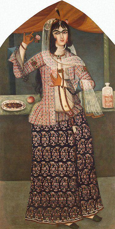 Woman Holding a Rose  Origin: Iran, First quarter of the 19th century, Qajar Dynasty  [skirt w paisley design]