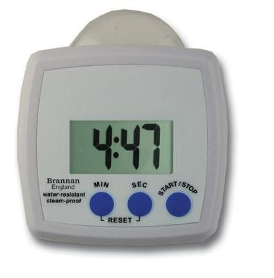 Water Resistant Digital Timer - Water resistant and steamproof digital timer featuring 99 minute 59 seconds function. Complete with stand and suction cup. Batteries included.