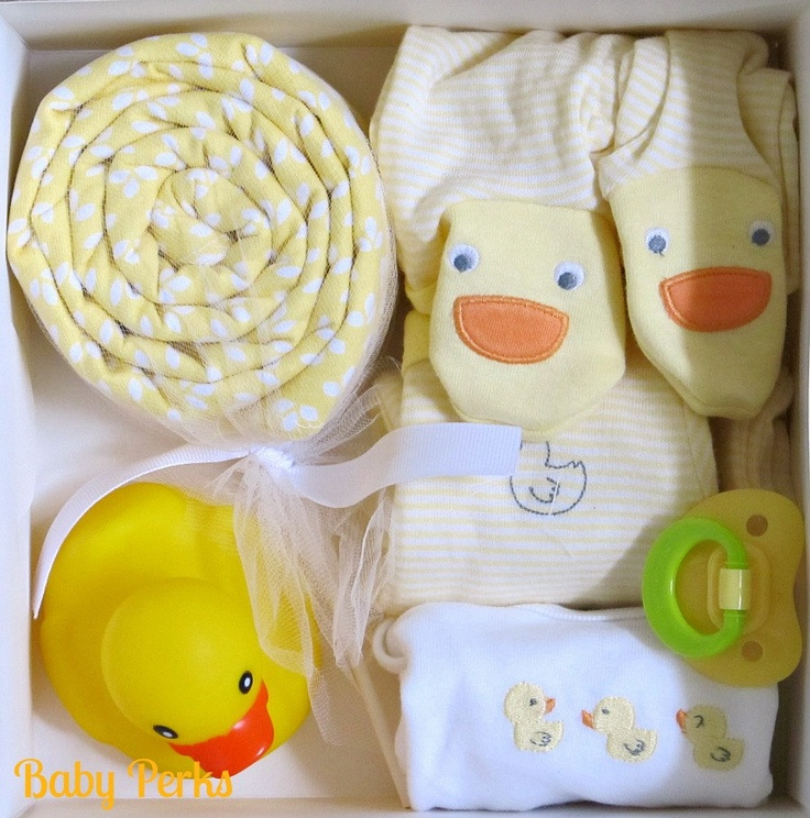 Maybe duck bib and blanket in a basket with duck? Neutral gift?