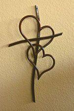4 Foot Double Heart Cross Copper Finish -