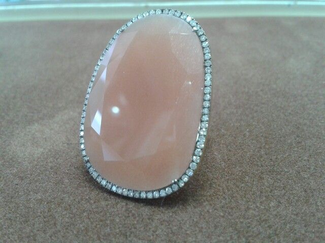 Handmade ring. K18 (750) Gold, Double Rose Cut Orange Moonstone and Diamonds.