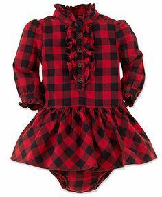 Ralph Lauren Baby Girls Dress, Baby Girls Twill Plaid Shirtdress