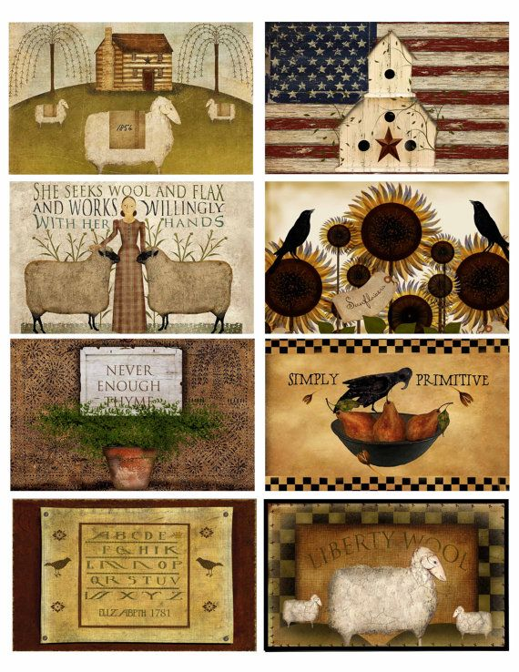Primitive Labels Download & Print Sheet of 8 by MarysMontage, $3.50