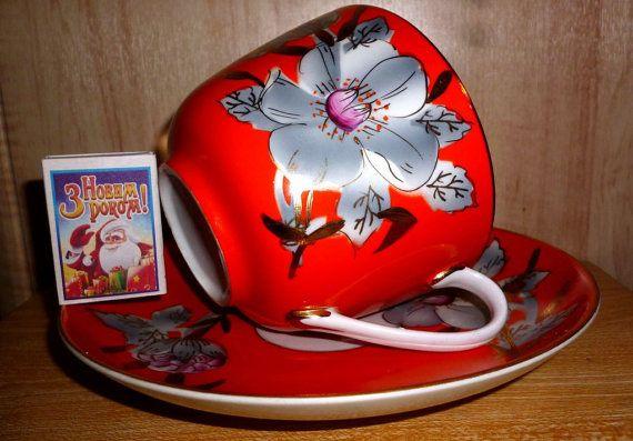 Old Charming Soviet Large Tea Cup and Saucer Malva. от Mumisma