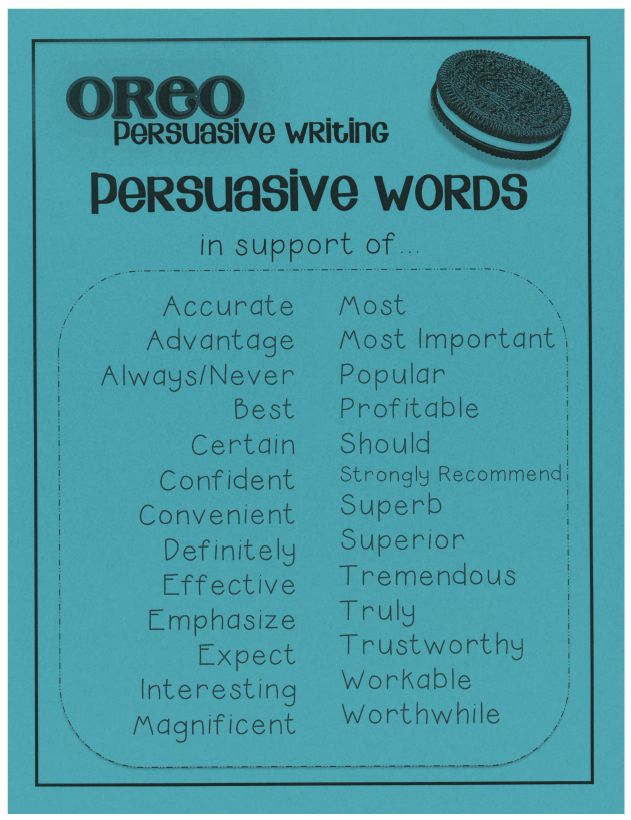 Persuasive words- supporting words from the Shoe String Life