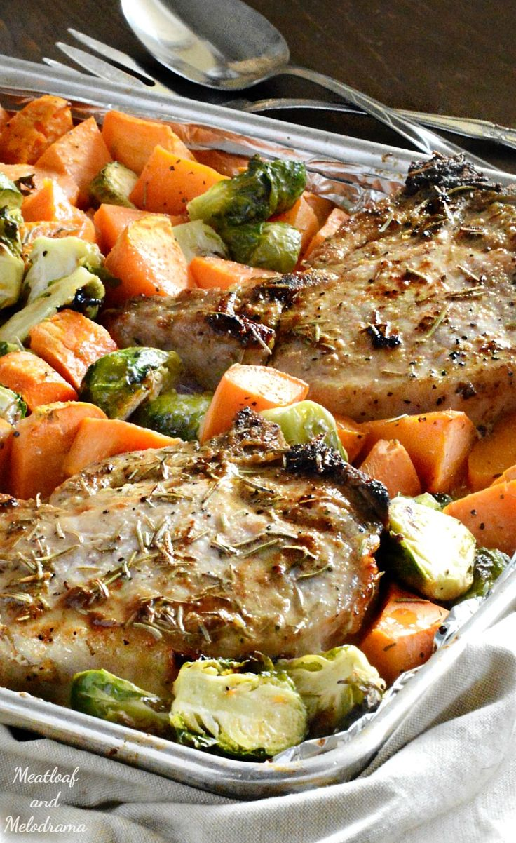 One Sheet Pan Maple Dijon Pork Chops with Brussels sprouts and sweet potatoes is a deliciously easy fall dinner that cooks in just 30 minutes.