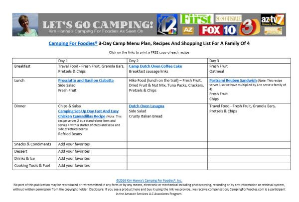 The 3-Day Camping Menu Planner For A Family Of 4. Get the entire 3-Day Camping Menu Planner, recipes and grocery list with our FREE Printables right here! http://www.campingforfoodies.com/3-day-camping-menu-planner-and-grocery-list/
