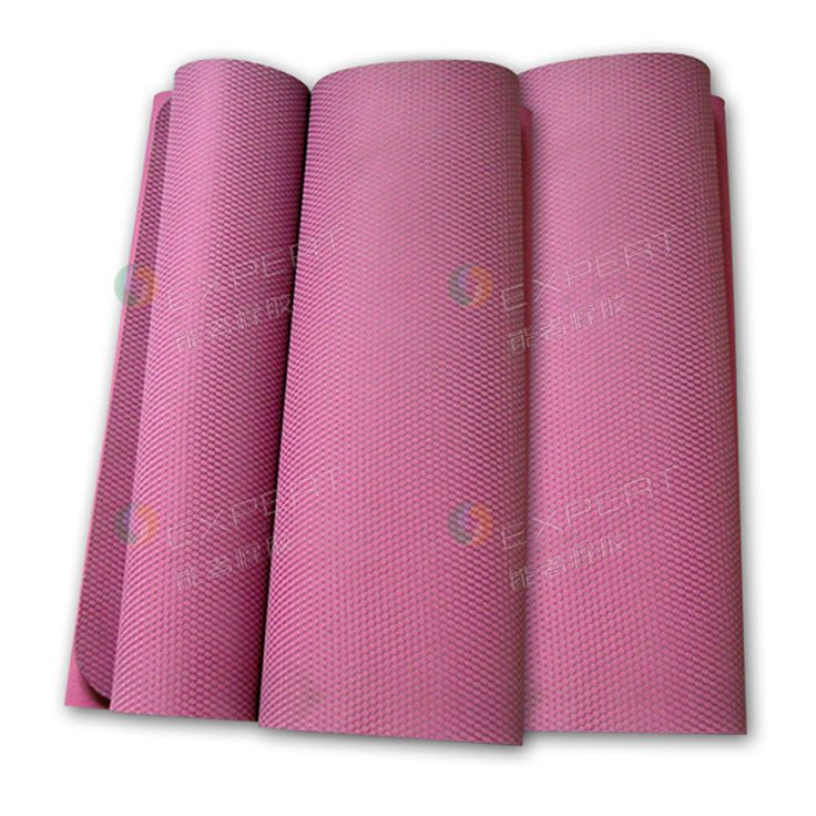"""The odorless yoga mat in 24""""*72""""*1/8"""" is made of pink natural rubber backing and innovative mesh top. The yoga mat is soft with foam natural rubber. And it's grip with anti-slip texture. It's eco friendly, and passed the RoHs, REACH, SVHC"""