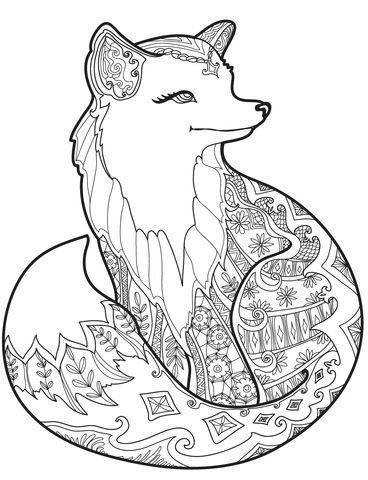 Zentangle Fox Coloring page More