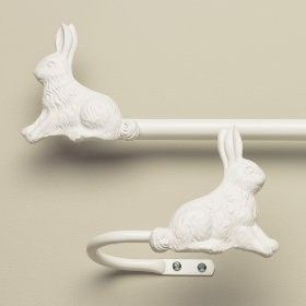 By The Land of Nod, bunny curtain rods.  Adorable.-for peter rabbit nursery