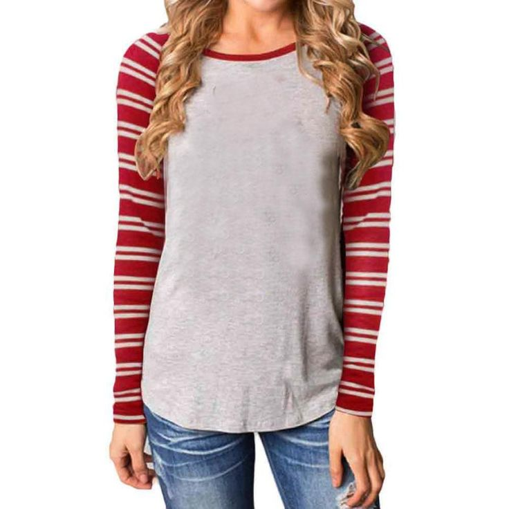 Women Tops Fashion T-shirt Gray Red Stripe Round Collar Cotton Long Sleeve Tops Blusas Casual Women Clothes #LSN