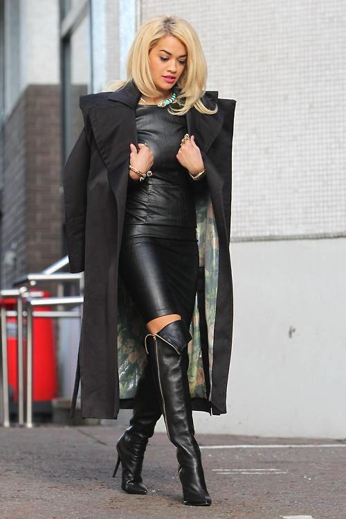 leather weather. Rita Ora in London.