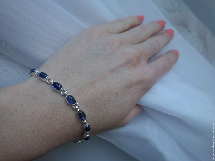 """Купить """"Энцу""""-чудесный браслет с волшебными непальскими кианитами - тёмно-синий, браслет с кианитами"""