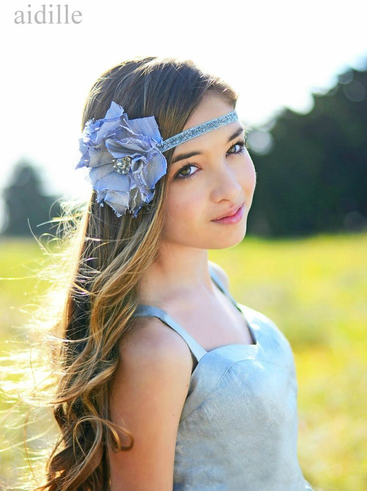 Silver Gray Silk Flower Headband Glitter Elastic Tween