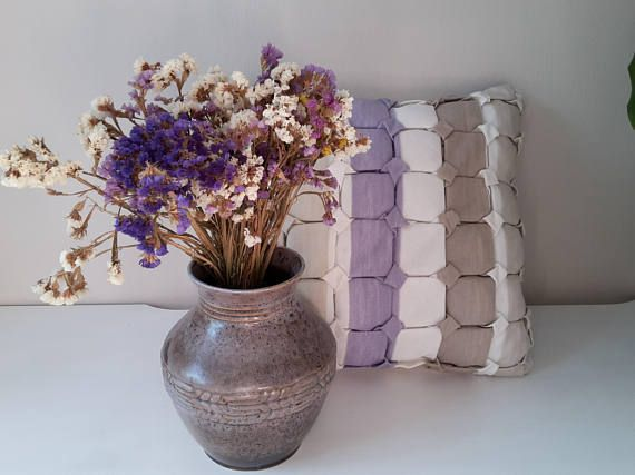 Striped Pillow Cover Decorative Cushion Pillow Sham Smocked