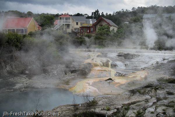 New Zealand Greeting Card: Whakarewarewa Thermal Village, Rotorua, New Zealand