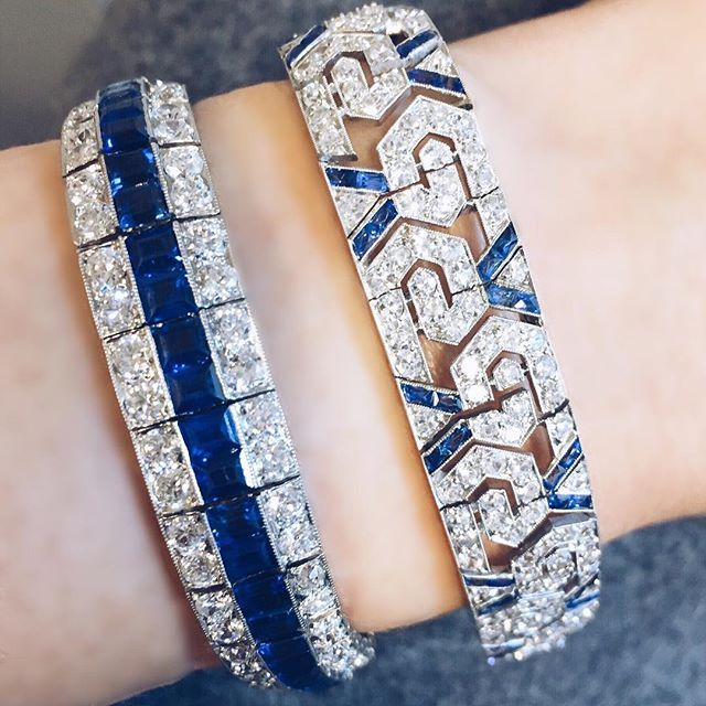Monday blues. Stacked Art Deco sapphire and diamond bracelets by Van Cleef & Arpels and Oscar Heyman & Bros
