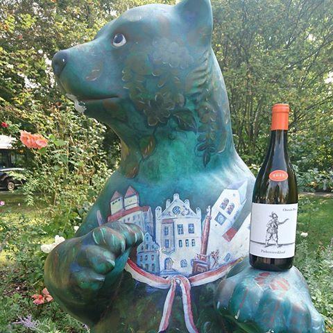 The Freising beer watching over the roses and enjoying #piekenierskloofwines #cheninblanc #germany #freising