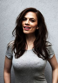 Hayley Atwell - you can't see here very well, but she's damn curvy and damn beautiful (well, you can see that) 32DD, 37-25-35