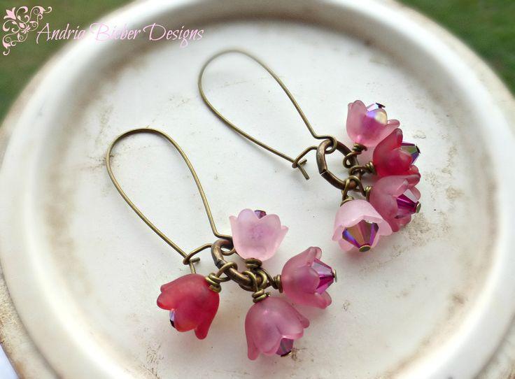 Pink flowers. bronze metal, Swarovski crystal earrings.