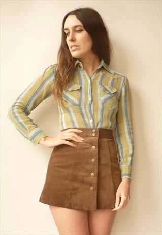 1970'S VINTAGE INDIAN MADE STRIPE CHEESECLOTH BLOUSE SHIRT