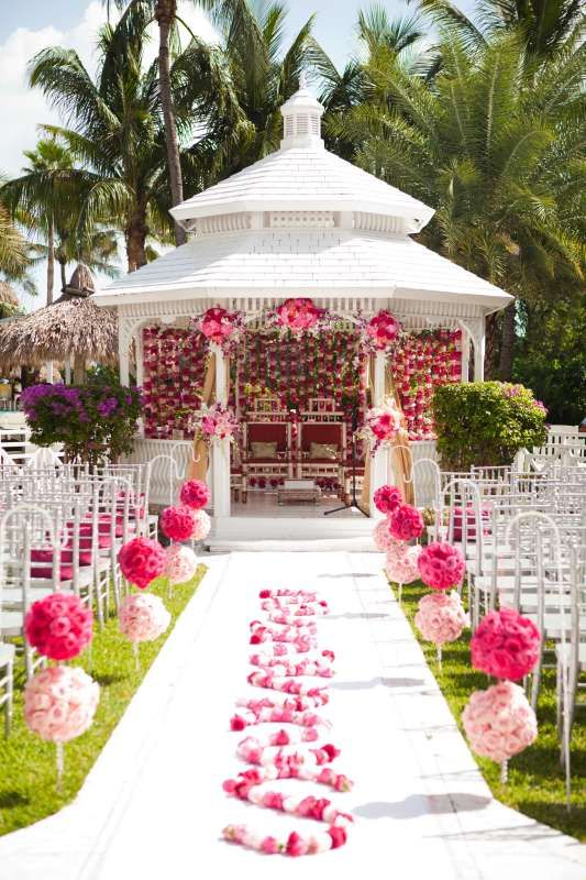 Outdoor Wedding Ceremony With Gazebo White Chiavari