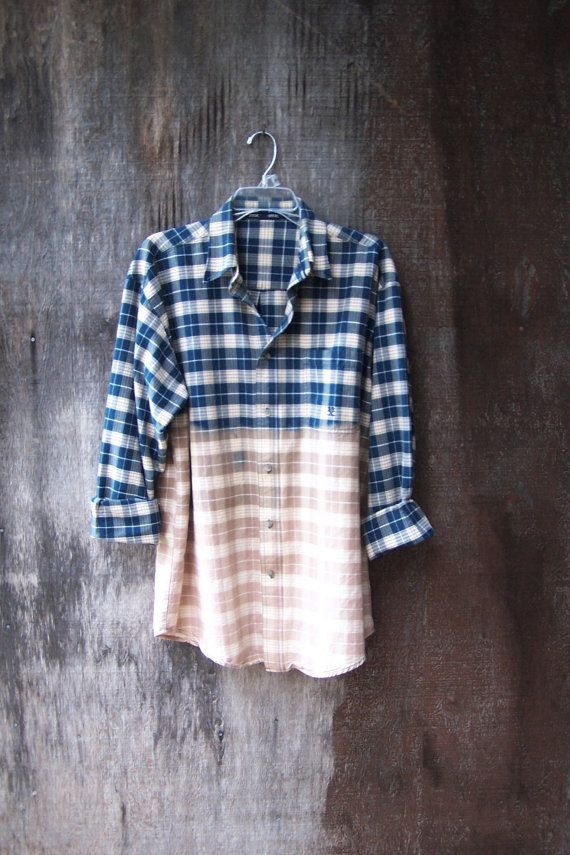 Unisex button up grunge shirt Half bleached blue plaid shirt long sleeve dip dye ombre upcycled mens LARGE on Etsy, 26,97€
