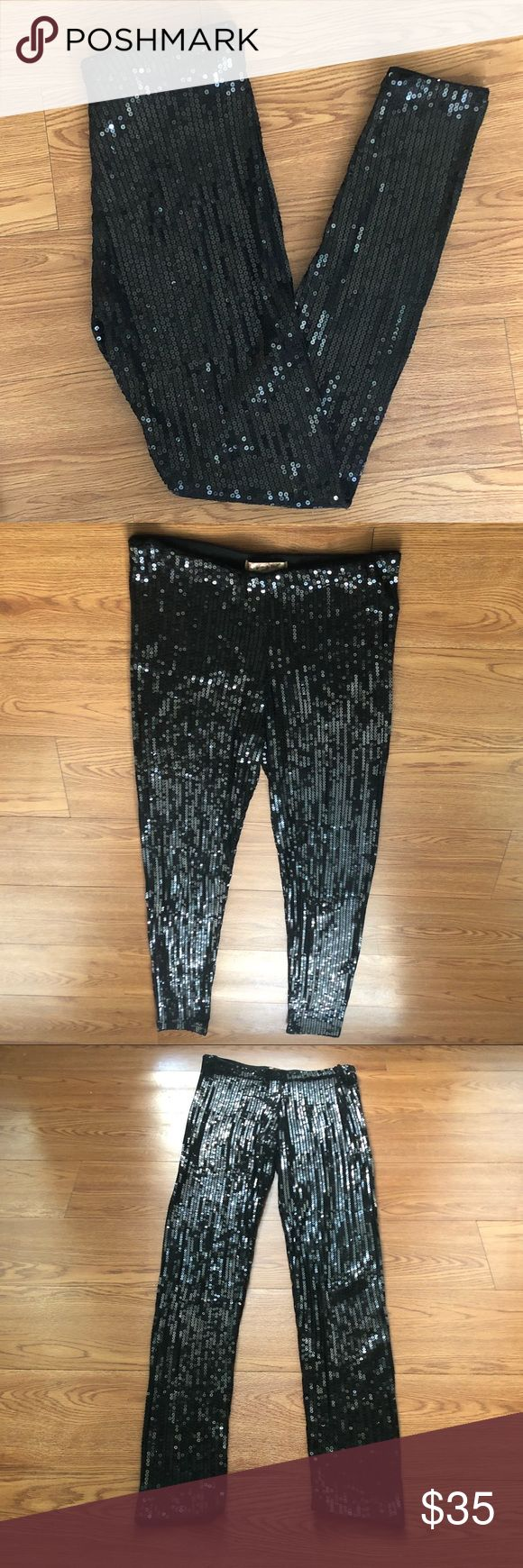 """Black Sequin Leggings Glam rock ready jet black comfy fitted full length leggings. Well made (never have to adjust sequins & they don't fall off), stretchy (without stretching out), comfortable, black leggings. Size Medium. I'm 5'9"""" & wore them slightly high waisted for comfort, and believe they would fit anyone 5'4""""-6"""" (size 2-8). 95% Rayon, 5% Spandex. Hand wash cold and line dry. 40"""" length. Pants Leggings"""