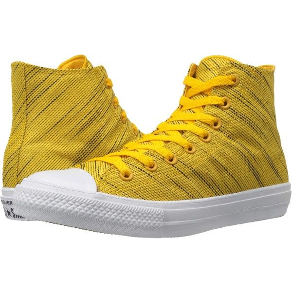 fd898550ba4a Converse Chuck Taylor All Star II Knit Hi (Yellow Black White Textile)...  ( 56) ❤ liked on Polyvore featuring shoes