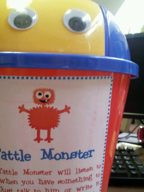 I <3 The Tattle Monster! He's the best thing to happen to my Pre-K classroom! You can get the little trashcan at the dollar store :)