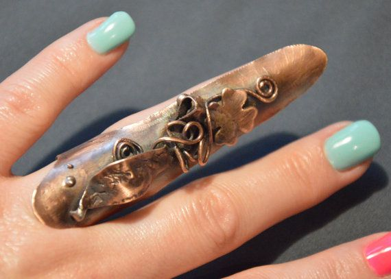 armor ring copper ring hammered copper statement by CopperFinger