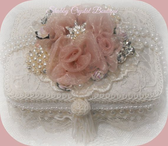 Shabby Trinket Box, With Lace, Pearls &Rhinestones