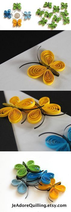 Butterflies Yellow Green Blue Table Confetti Dinner Ornaments Baby Bridal Shower Party Decor Gift Fillers Party Confetti Paper Quilling Art