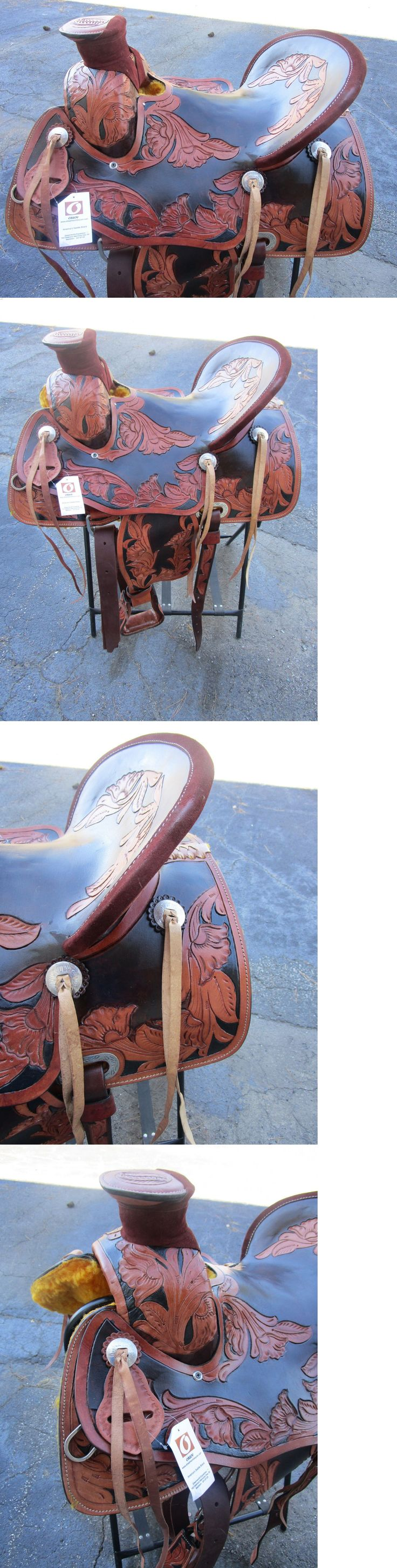 Saddles 47291: 16 Roping Ranch Wade Show Floral Tooled Dark Brown Leather Western Horse Saddle BUY IT NOW ONLY: $386.99