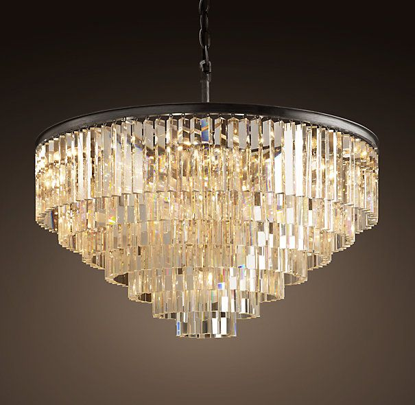 So now I want THIS over my dining table!!!  1920s Odeon Glass Fringe 7-Ring Chandelier | Chandeliers | Restoration Hardware