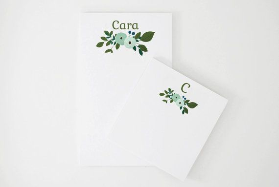 Personalized Notepad Set | Custom Notepads with Botanical Illustration and Monogram with Full Name